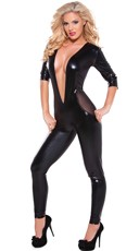 Wet Look and Mesh Catsuit