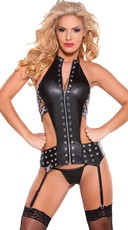 Faux Leather Silver Eyelet Teddy with Garter