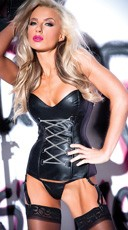 Criss Cross Faux Leather Corset