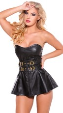 Faux Leather Mini Dress with Gold Buckles