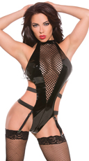 Vinyl and Fishnet Halter Teddy