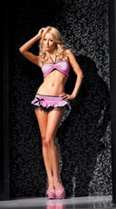 Plus Size Halter Bandeau And Ruffle Skirt