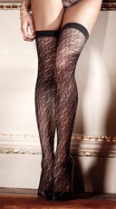 Jacquard Print Thigh High Sheer Stockings