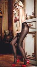 Sheer Pantyhose with Jacquard Print