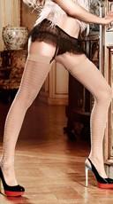 Nude Jacquard Print Thigh High Stockings