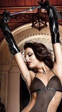 Long Black Patent Gloves