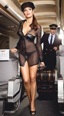 Plus Size Black Stewardess Lingerie Costume