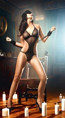 Plus Size Dangerous Love Black Lingerie Set