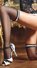 Black Fishnet Stockings with White Bows