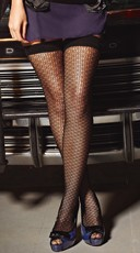 Black Patterned Net Stockings