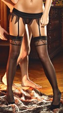 Sheer Thigh High Stockings with Patterned Tops