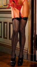 Vinyl Top Mesh Thigh High Stockings