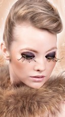 Brown and Gold Feather Eyelashes