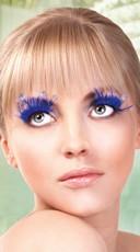 Long Blue Feather Eyelashes