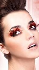 Dark Red Polka Dot Feather Eyelashes