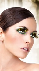 Black and Yellow Polka Dot Feather Eyelashes