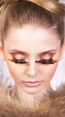 Long Brown Feather Eyelashes