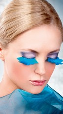 Large Light Blue Feather Eyelashes
