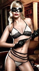 Black and Nude Soft Cup Bra and Thong