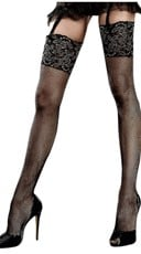 Glitter Lace Top Fishnet Thigh Highs