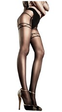 Black Mesh Pantyhose with Faux Panty and Garters