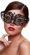 Black Filigree Half Mask with Crystals