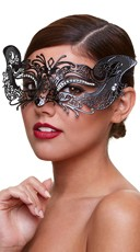 Filigree Cat Eye Mask with Crystals