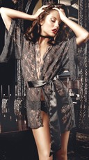 Lacy Kimono Robe with Satin Belt Tie