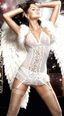 White Mesh and Lace Chemise Set