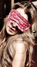 Pink Satin Heart Print Eye Mask