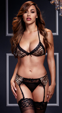 Leopard and Lace Bra, Garter, and Panty Set