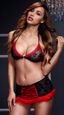 Black and Red Bra Top with Lace-Up Garterskirt