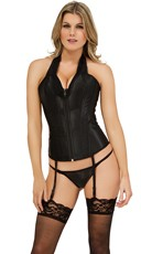 Halter Front Zip-Up Corset and G-String