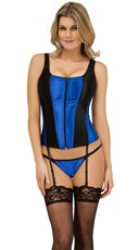 Front Zip Corset with Shoulder Straps and G-String