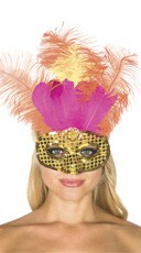 Glittery Gold and Pink Feather Mask