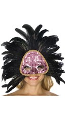 Pink and Black Feather Mask