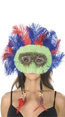 Blue and Red Mask wth Lime Feathers