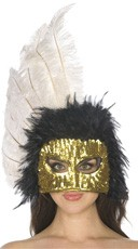 Black and White Feather Mask
