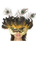 Black and Yellow Feather Mask
