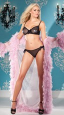 Sheer Bra and Ruffled Panty Set