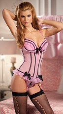 Soft Pink Mesh Corset with Ribbon Trim