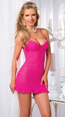 Lace Chemise with Bustle Back