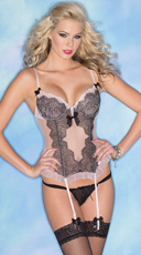 Pure Romance Lace and Mesh Bustier