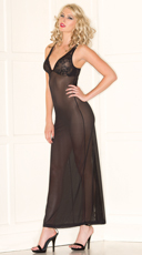 Midnight Mesh Lingerie Gown