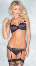 Naughty In Navy Bra and Garter Panty