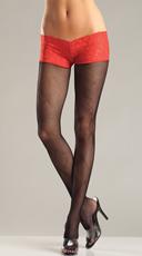 Lace Shorts and Pantyhose Set