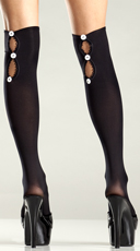 Black Opaque Button-Up Knee Highs