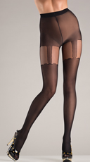 Suspender Design Black Pantyhose