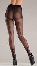 Sheer Pantyhose With Tassel Bow Design