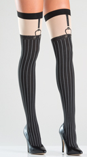 Opaque Faux Suspender Thigh Highs